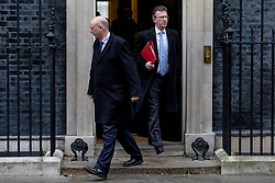 © Licensed to London News Pictures. 12/03/2019. London, UK. Transport Secretary Chris Grayling (L) and Secretary of State for Culture, Media and Sport Jeremy Wright QC (R) leave 10 Downing Street after the Cabinet meeting. MPs will get a second meaningful vote on Prime Minister Theresa May's Brexit deal this evening. Photo credit: Rob Pinney/LNP