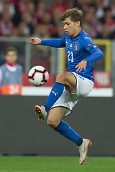October 14, 2018 - Chorzow, Poland - Nicolo Barella (ITA) during the UEFA Nations league match between Poland v Italy at the Slaski Stadium on October 14, 2018 in Chorzow, Poland. (Credit Image: © Foto Olimpik/NurPhoto via ZUMA Press)