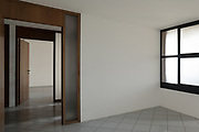 architecture, empty room with windows, gray tiled floor