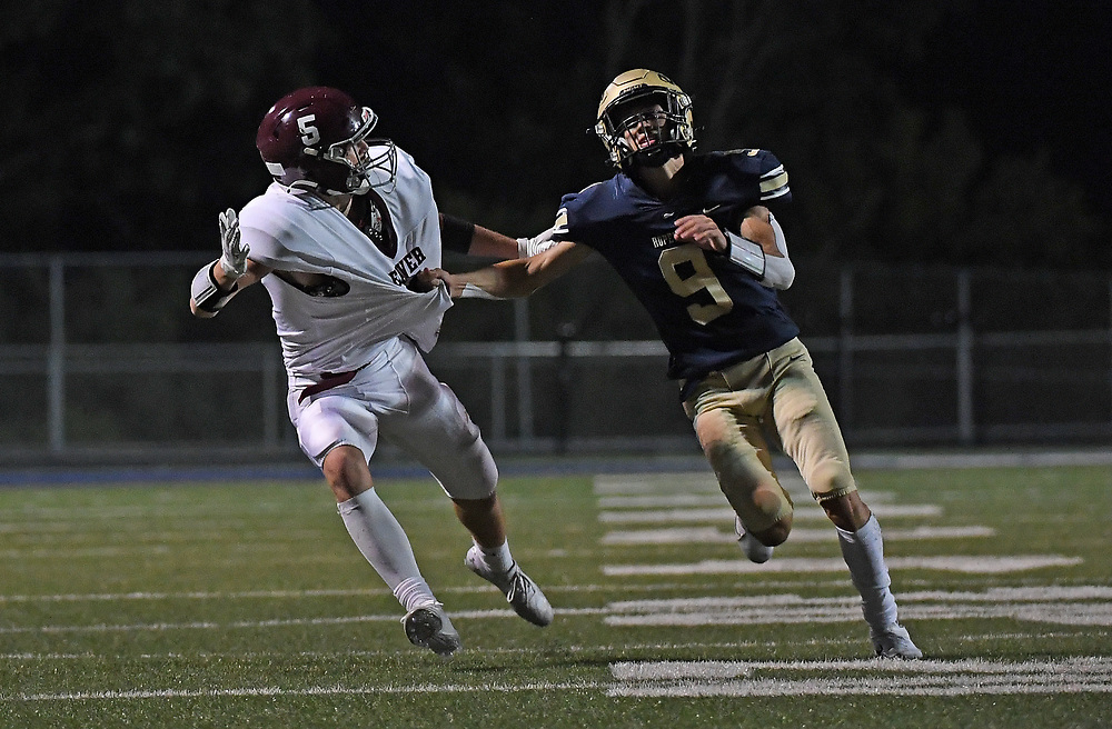 Matthew Essey #9 of the Hopewell Vikings is called for pass interference on Liam Gibson #5 of the Beaver Bobcats in the second half during the game at Tony Dorsett Stadium on September 10, 2021 in Hopewell Township, Pennsylvania
