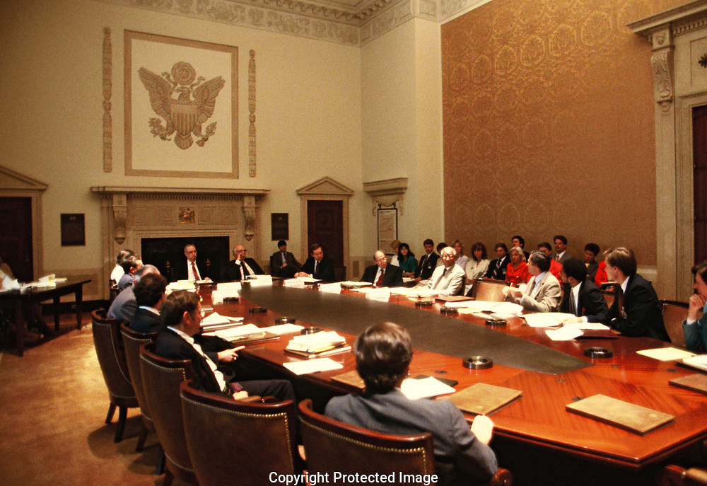 Federal Reserve Board meeting in October 1986<br />Photo by Dennis Brack