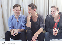 Angels In America cast members Luke Mullins, Marcus Graham and Mitchell Butel at the Belvoir rehearsal space in Surry Hills, New South Wales.
