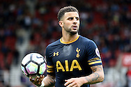 Kyle Walker of Tottenham Hotspur looks to talk a throw in. Premier league match, Stoke City v Tottenham Hotspur at the Bet365 Stadium in Stoke on Trent, Staffs on Saturday 10th September 2016.<br /> pic by Chris Stading, Andrew Orchard sports photography.