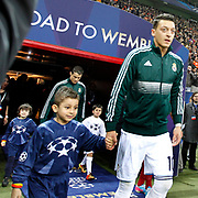 Real Madrid's Mesut Ozil (R) and  Cristiano Ronaldo (L) during their UEFA Champions League Quarter-finals, Second leg match Galatasaray between Real Madrid at the TT Arena AliSamiYen Spor Kompleksi in Istanbul, Turkey on Tuesday 09 April 2013. Photo by Aykut AKICI/TURKPIX