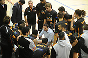 Taylor Hawks Head Coach Zico Coronel speaks to players before the Sal's Pizza NBL Round 8 match, Hawkes Bay Hawks vs Auckland Rangers, Pettigrew Green Arena, Napier, Saturday, June 16, 2018. Copyright photo: Kerry Marshall / www.photosport.nz