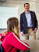 25 APRIL 2019 - DES MOINES, IOWA: US Representative SETH MOULTON (D-MA), talks with a social sciences class about public service at Central Academy. Rep. Moulton visited Central Academy in Des Moines Thursday to talk to high school students and the school's JROTC class about public service. Moulton, a US Marine veteran who served in Iraq, is running to be the Democratic candidate for the US Presidency in 2020. Iowa traditionally hosts the the first selection event of the presidential election cycle. The Iowa Caucuses will be on Feb. 3, 2020.             PHOTO BY JACK KURTZ