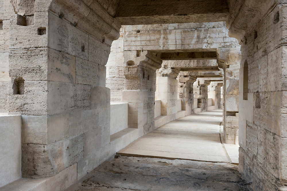Passageway inside the Arles Ampitheatre, which was built in 90 AD and capable of seating over 20,000 spectators, in Arles, France
