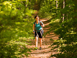 Woman hiking on footpath through forest, Baden-Wuerttemberg, Germany