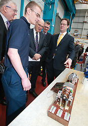 RE-ISSUE NOTE THIS IS A TODAY PICTURE © London News Pictures. 10/03/2012.  Newcastle, UK. Liberal Democrat leader NICK CLEGG and Business Secretary VINCE CABLE speaking to craft apprentice Adam Hogarth (18)  at Siemens Energy Service Training Centre in Newcastle Upon Tyne on March 11th 2012. The Liberal Domocrat Spring Conference is being held in Newcastle this weekend. Photo credit : Ben Cawthra/LNP