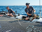 Emirates Team New Zealand skipper Peter Burling and trimmer Blair Tuke. Day two of the Extreme Sailing Series at Nice. 3/10/2014