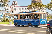 Laguna Beach Transit Stopped at a Pickup Station on Coast Highway at Main Beach Laguna Beach