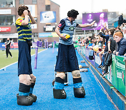 A general view of Cardiff Arms Park, home of Cardiff Blues match day entertainment<br /> <br /> Photographer Simon King/Replay Images<br /> <br /> European Rugby Challenge Cup - Semi Final - Cardiff Blues v Pau - Saturday 21st April 2018 - Cardiff Arms Park - Cardiff<br /> <br /> World Copyright © Replay Images . All rights reserved. info@replayimages.co.uk - http://replayimages.co.uk