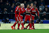 Christian Kabasele of Watford (r) celebrates with his teammates after scoring his teams 2nd goal. Premier league match, Everton vs Watford at Goodison Park in Liverpool, Merseyside on Sunday 5th November 2017.<br /> pic by Chris Stading, Andrew Orchard sports photography.