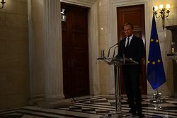 April 5, 2017 - Athens, Attiki, Greece - President of European Parliament Donald Tusk during press conference with the Greek Prime Minister Alexis Tsipras. (Credit Image: © Dimitrios Karvountzis/Pacific Press via ZUMA Wire)