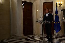 April 5, 2017 - Athens, Attiki, Greece - President of European Parliament Donald Tusk during press conference with the Greek Prime Minister Alexis Tsipras. (Credit Image: © Dimitrios Karvountzis/Pacific Press via ZUMA Wire)