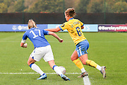 Brighton & Hove Albion defender Maya Le Tissier (6)  takes on Everton midfielder Lucy Graham (17) during the FA Women's Super League match between Everton Women and Brighton and Hove Albion Women at the Select Security Stadium, Halton, United Kingdom on 18 October 2020.