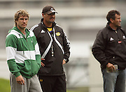 Hurricanes coach Colin Cooper (centre) with injured fullback Cory Jane.<br /> Super 14 - Hurricanes training session, at Rugby League Park, Newtown, Wellington. Tuesday, 28 April 2009. Photo: Dave Lintott/PHOTOSPORT