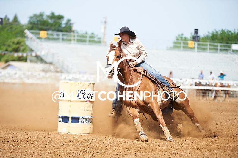Barrel racer Deb Guelly of Okotoks, AB competes at the Red Bluff Round-Up at the Tehama District Fairgrounds in Red Bluff, CA.<br /> <br /> <br /> UNEDITED LOW-RES PREVIEW<br /> <br /> <br /> File shown may be an unedited low resolution version used as a proof only. All prints are 100% guaranteed for quality. Sizes 8x10+ come with a version for personal social media. I am currently not selling downloads for commercial/brand use.