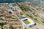Nederland, Noord-Brabant, Eindhoven, 23-08-2016; stadsdeel Strijp. Philips Stadion van PSV gezien naar Strijp-S, voormalig bedrijventerrein van Philips. Linksonder Philipsdorp.<br /> Philips PSV Stadium with Strijp-S, former business of Philips in the background. Bottom left Philips village.<br /> luchtfoto (toeslag op standard tarieven);<br /> aerial photo (additional fee required);<br /> copyright foto/photo Siebe Swart