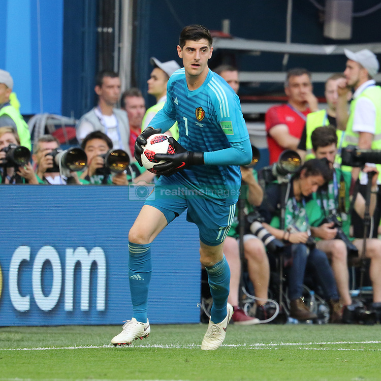 July 14, 2018 - St. Petersburg, Russia - July 14, 2018, St. Petersburg, FIFA World Cup 2018, Football match for the third place in the World Cup. Football match of Belgium - England at the stadium of St. Petersburg. Player of the national team Thibaut Courtois. (Credit Image: © Russian Look via ZUMA Wire)