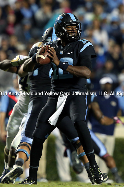 18 October 2014: UNC's Marquise Williams. The University of North Carolina Tar Heels hosted the Georgia Tech Yellow Jackets at Kenan Memorial Stadium in Chapel Hill, North Carolina in a 2014 NCAA Division I College Football game. UNC won the game 48-43.