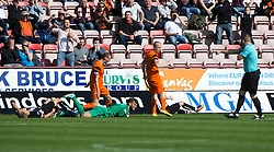 Dunfermline were awarded their second penalty. Bell came out and saved well from the onrushing Reilly but as the ball deflected away with van der Struijk and Nicky Clark competing for the ball, referee Beaton pointed to the spot. Dunfermline 1 v 3 Dundee United, Scottish Championship game played 10/9/2016 at East End Park.