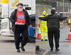© Licensed to London News Pictures 22/12/2020.        Ashford, UK. The angry trucker from the Port of Dover yesterday is a polite cheerful man called Dadela Stanislaw from Poland and is stranded at Ashford truck stop today. Comparison picture (yesterday 21.12.2020 Dover and today Ashford 22.12.2020)Hundreds of freight lorries and their drivers are stranded at Ashford International Truck Stop in Kent as France keep their borders closed due to fears over the new Cornavirus strain. Photo credit:Grant Falvey/LNP