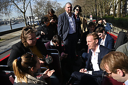 © Licensed to London News Pictures. 30/03/2021. London, UK. Actor and leader of The Reclaim Party, Laurence Fox, unveils his battle bus for the London. Mayoral campaign. The elections will, be held on 6 May 2021.<br />  credit: Ray Tang/LNP