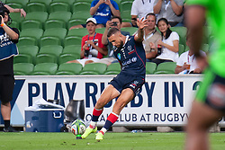 March 1, 2019 - Victoria, VIC, U.S. - MELBOURNE, AUSTRALIA - MARCH 01: Quade Cooper (10) of the Melbourne Rebels goes for a kick at The Super Rugby match between Melbourne Rebels and Highlanders on March 01, 2019 at AAMI Park, VIC. (Photo by Speed Media/Icon Sportswire) (Credit Image: © Speed Media/Icon SMI via ZUMA Press)