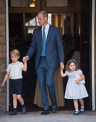 The Duke of Cambridge with Prince George and Princess Charlotte after Prince Louis's christening at the Chapel Royal, St James's Palace, London.