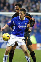Photo: Dave Linney.<br />Leicester City v Wolverhampton Wanderers. Coca Cola Championship. 04/02/2006 Leicester's .Matty Fryatt (Front) holds the ball off from Joleon Lescott