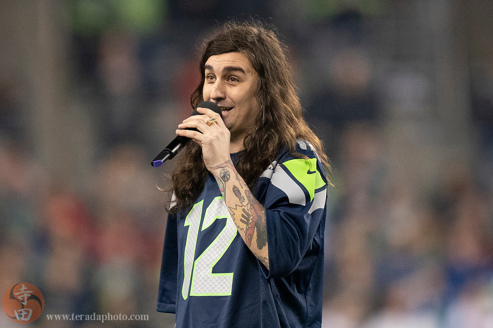 December 29, 2019; Seattle, Washington, USA; Zechariah Valette sings the national anthem before the game between the Seattle Seahawks and the San Francisco 49ers at CenturyLink Field.