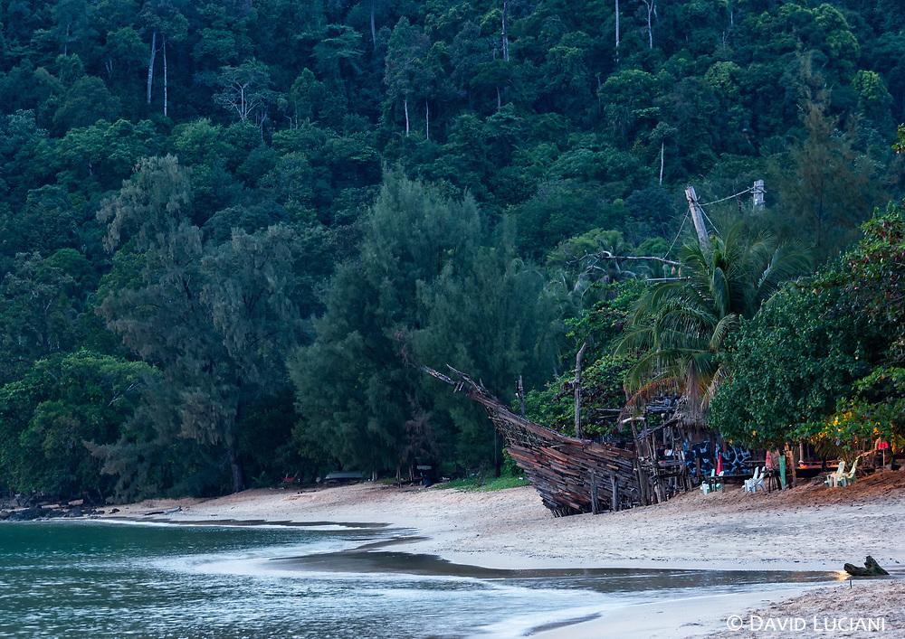 Pirate boat :-), including Hippy bar on Ao Khao Kwai Beach in Koh Phayam.