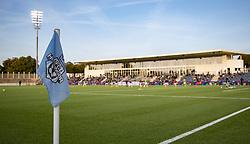 Et kig udover stadion før kampen i 1. Division mellem FC Helsingør og Vendsyssel FF den 18. september 2020 på Helsingør Stadion (Foto: Claus Birch).