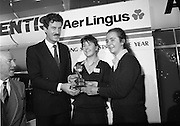 10/01/1986.01/10/1986.10th January 1986.The Aer Lingus Young Scientist of the Year Exhibition at the RDS, Dublin...Picture shows An Tanaiste, Dick Spring, T.D. presenting the Aer Lingus Young Scientist of the Year award to Breda Maguire and Niamh Mulvany, both of Rosary College, Raheny,Dublin.  ..