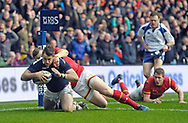 JP License<br /> <br /> RBS Six Nations Championship<br /> Scotland v Wales, Murrayfield Stadium, Edinburgh<br /> <br /> Tommy Seymour of Scotland 1st try despite Scott Williams of Wales <br /> <br /> <br /> <br />  Neil Hanna Photography<br /> www.neilhannaphotography.co.uk<br /> 07702 246823