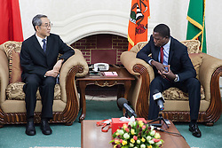 LUSAKA, Sept. 13, 2016 (Xinhua) -- Zambian President-elect Edgar Lungu(R) meets with Chinese President Xi Jinping's Special Envoy, vice chairman of the National Committee of the Chinese People's Political Consultative Conference Ma Biao in Lusaka, Zambia on Sept. 12, 2016. Zambian President-elect Edgar Lungu was on Tuesday inaugurated for his five year mandated in office during a grand ceremony held in Lusaka, the country's capital. (Xinhua/Peng Lijun) (Credit Image: © Peng Lijun/Xinhua via ZUMA Wire)