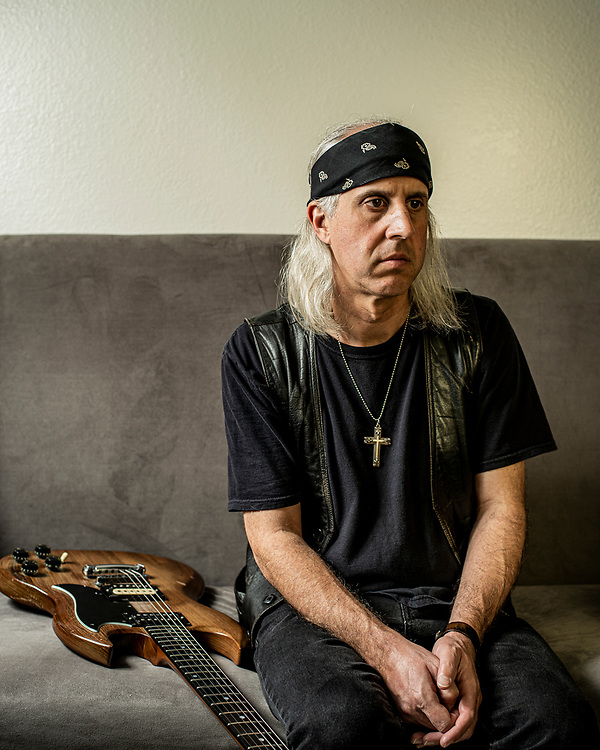 Angelo Tringali, guitarist for Slough Feg and Tomb Weavers, at his home in Monterey, Calif.
