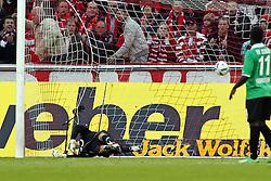 16.10.2011,  Rhein Energie Stadion, Koeln, GER, 1.FBL, 1. FC Koeln vs Hannover 96 ,im Bild.Tor zum 1:0 durch Lukas Podolski (Koeln #10). Zielet im Tor geschlagen..// during the 1.FBL, 1. FC Koeln vs Hannover 96 on 2011/10/16, Rhein-Energie Stadion, Köln, Germany. EXPA Pictures © 2011, PhotoCredit: EXPA/ nph/  Mueller *** Local Caption ***       ****** out of GER / CRO  / BEL ******