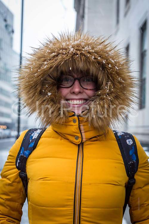 Braving the cold following the arrival of Storm Emma which is set to bring further widespread disruption to many parts of the UK on 2nd March 2018 in Covent Garden, London, United Kingdom.. Freezing weather conditions dubbed the Beast from the East brings snow and sub-zero temperatures to the UK.