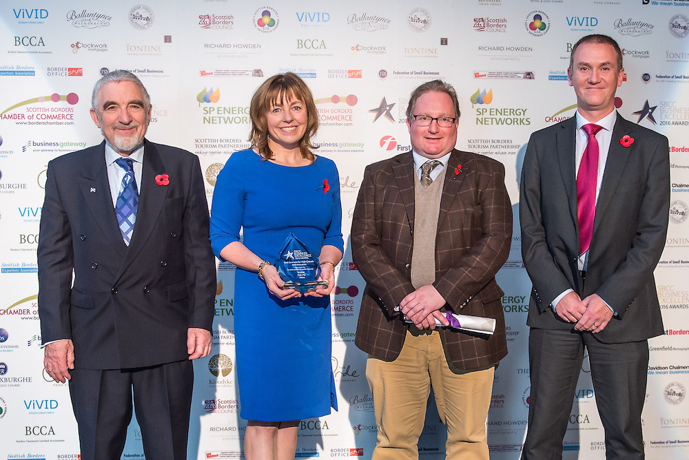 Scottish Borders Business Excellence Awards 2016, Best Business for High Growth and Innovation. Aponsored by Scottish Borders Business Gateway. Winner ~ Fish Pal, Kelso.<br /> <br /> The 2016 Scottish Border Business Excellence Awards, held at Springwood Hall, Kelso. The awards were run by the Scottish Borders Chambers of Commerce, with guest speaker Councillor Stuart Bell, BSC Executive Member for Economic Development.  The SBCC chairman Jack Clark and the presenter Fiona Armstrong co hosted the event.