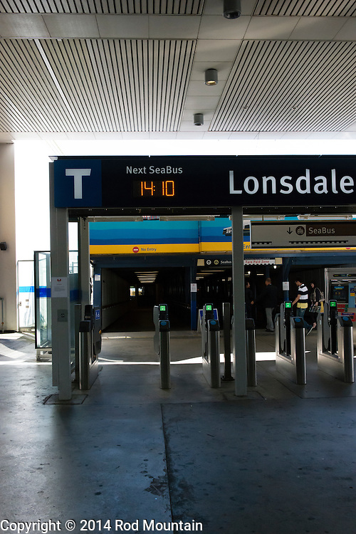 The transit gates to the Seabus terminal at the Lonsdale Quay in North Vancouver. © Rod Mountain