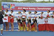 Chungju, South Korea.  Final Women's Quadruple Sculls Medel presentation, awards dock. 2013 FISA World Rowing Championships, Tangeum Lake International Regatta Course.16:46:39  Saturday  31/08/2013 [Mandatory Credit. Peter Spurrier/Intersport Images]<br /> <br /> 1GER W4X, Annekatrin THIELE (b) , Carina BAER (2) , Julia RICHTER (3) , Britta OPPELT (s)<br /> <br /> 2CAN W4X,Emily CAMERON (b) , Katharine GOODFELLOW (2) , Carling ZEEMAN (3) , Antje VON SEYDLITZ-KURZBACH (s)<br /> <br /> 3POLW4X Sylwia LEWANDOWSKA (b) , Joanna LESZCZYNSKA (2) , Magdalena FULARCZYK (3) , Natalia MADAJ