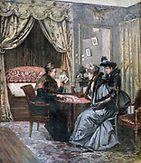 Two fashionable women having their fortunes told as read in the cards.  From 'Le Petit Journal', Paris, 4 June 1892. Cartomancy, Prophecy