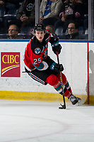 KELOWNA, BC - MARCH 11: Tyson Feist #25 of the Kelowna Rockets skates with the puck against the Victoria Royals at Prospera Place on March 11, 2020 in Kelowna, Canada. (Photo by Marissa Baecker/Shoot the Breeze)