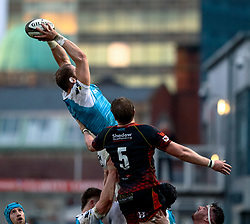 Alun Wyn Jones of Ospreys claims the lineout<br /> <br /> Photographer Simon King/Replay Images<br /> <br /> Guinness PRO14 Round 12 - Dragons v Ospreys - Sunday 30th December 2018 - Rodney Parade - Newport<br /> <br /> World Copyright © Replay Images . All rights reserved. info@replayimages.co.uk - http://replayimages.co.uk