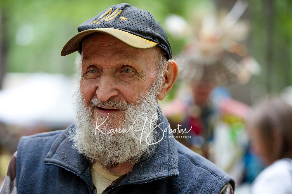 Jerry Dulac began the Labor Day Pow Wow in Sanbornton 48 years ago offering education and preserving the Native American culture to attendees of the three day event.  (Karen Bobotas/for the Laconia Daily Sun)