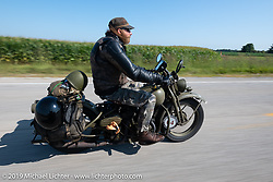 Randy Samz riding his 1942 Harley-Davidson WLA during the Cross Country Chase motorcycle endurance run from Sault Sainte Marie, MI to Key West, FL (for vintage bikes from 1930-1948). Stage 4 saw a 315 mile ride from Urbana, IL to Bowling Green, KY USA. Monday, September 9, 2019. Photography ©2019 Michael Lichter.