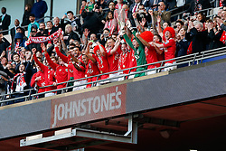 Bristol City captain Wade Elliott and his teammates lift the Football League Trophy after they win the match 2-0 - Photo mandatory by-line: Rogan Thomson/JMP - 07966 386802 - 22/03/2015 - SPORT - FOOTBALL - London, England - Wembley Stadium - Bristol City v Walsall - Johnstone's Paint Trophy Final.