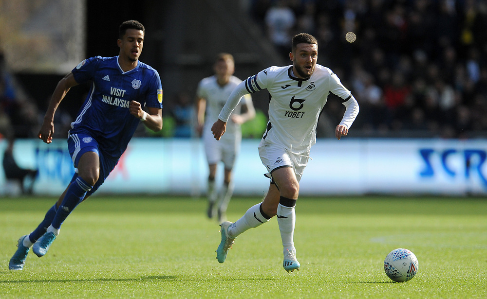 Swansea City's Matt Grimes during the game <br /> <br /> Photographer Ian Cook/CameraSport<br /> <br /> The EFL Sky Bet Championship - Swansea City v Cardiff City - Sunday 27th October 2019 - Liberty Stadium - Swansea<br /> <br /> World Copyright © 2019 CameraSport. All rights reserved. 43 Linden Ave. Countesthorpe. Leicester. England. LE8 5PG - Tel: +44 (0) 116 277 4147 - admin@camerasport.com - www.camerasport.com